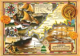 UK - Cornouailles - Carte Des Naufrages - CPM Couleur - Cornish Shipwreck Chart - Schiffe