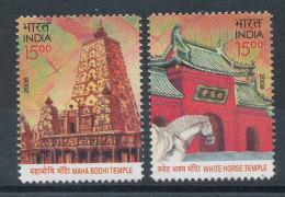 Inde 2008** Emission Conjointe Indo Chine - Maha Bodhi Temple Et Horse Temple
