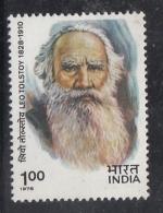 India  1978  - Leo Tolstoy   USSR  1 R  MNH     2  Scans  # 93625  Inde Indien
