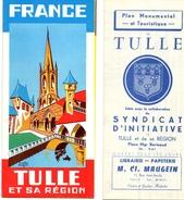 Tulle. Joli Dépliant Touristique Et Plan Touristique. Années 50-60. Nombreuses Publicités Commerces De La Ville. - Dépliants Touristiques