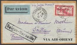 Enveloppe Laos Vers France 1934 - Cachets : Luang-Prabang & Divers - Briefe U. Dokumente