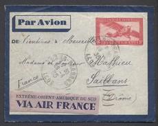 Petite Enveloppe Laos Vers France 1935 - Cachets : Luang-Prabang Vientiane Marseille Saillans - Briefe U. Dokumente