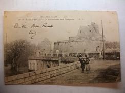 Carte Postale Saint Malo (35) La Promenade Des Remparts  (CPA Dos Non Divisé Oblitérée 1903 Timbre 5 Centimes  ) - Saint Malo