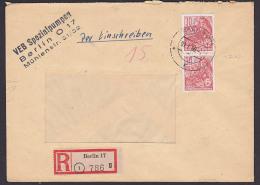 DDR Berlin 17 30  Pfg. 5-Jahrplan 1960 Als MeF Auf Orts-R-Brief MiNr. 582B(2), VEB Spezialpumpen - [6] República Democrática