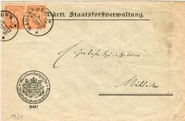 Dt. Reich Dienst Nr. 27 Als MEF Auf Fernbrief V. Maulbronn 1921 N. Mühlacker - Officials