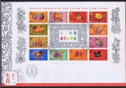 Hong Kong 1999 Full Chinese New Year Set On Cover Mi Nr 865 - 876 - Blocchi & Foglietti