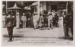 2 Phnom Penh Couronnement Roi Monivong Visite Gouverneur Danse Creation Sté Philarmonique Texte Verso - Cambodge