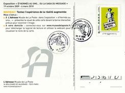 """Entier Postal** De 2009 Sur CP Avec Timbre Et Illust.  """"D'HERMES AU SMS ..... OU LA SAGA DU MESSAGE"""" - Oblit. 04 XI 2009 - Enteros Postales"""