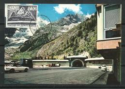Italia_1965_Tarjeta Maxima. Maximum Card. Inauguracion Del Túnel Sobre El Mont-Blanc. - Cartas Máxima