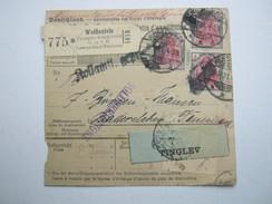 1921 , Paketkarte Aus Weissenfels Nach Dänemark ,  Seltene Mehrfachfrankatur Der 4 Rm  Marke - Briefe U. Dokumente