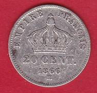 France 20 Centimes Napoléon III Tête Laurée 1866 BB - France