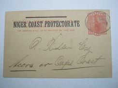 1902 , SCHIFFSPOST HAMBURG - WESTAFRIKA , Seltener Stempel Auf Ganzsache  Niger Coast - Colony: German South West Africa
