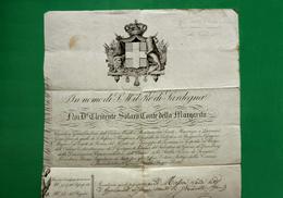 D-IT Regno Di Sardegna 1846  PASSAPORTO Conte Clemente Solaro Della Margarita - Documents Historiques