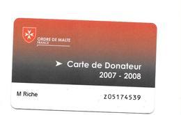 Carte De Donateur. Ordre De Malte France 2007-2008 - France