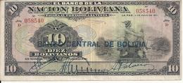 BOLIVIE 10 BOLIVIANOS ND1929 VF P 114 - Bolivia