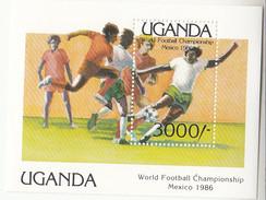 1986 Uganda World Cup Football Souvenir Sheet Complete Set Of 1 MNH - Uganda (1962-...)