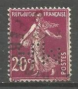 France - F1/252 - Type Semeuse Camée - N°190   Obl.  Perforé H.M. - 1906-38 Sower - Cameo