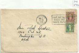 Canada 006, 1943, Ontario, II Guerra Mundial, World War II, - Storia Postale