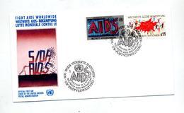 Lettre Fdc Wien 1990 Aids Sida - Centre International De Vienne
