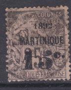 Martinique N° 28 O   15 C.   Sur 25  C. Noir Sur Rose,  Oblitération Moyenne Sinon TB - Martinique (1886-1947)