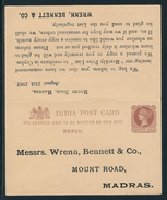 1/4 /1/4 Anna Stationery Card With Reply, Private Printing, From Mount Road Madras To Colombo, Ceylon 22. AU. 01 - Ganzsachen