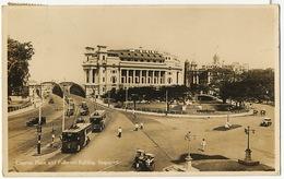 Real Photo Empress Place And Fullerton Building Singapore Tram  Used Mayaya 1937 To La Caravelle Basse Ile Rezé 44 - Singapore