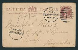 East India 1/4 Anna Stationery Card From R.H. BORI BANDAR APR. 14 To BARODA CAMP APR:16 - Ganzsachen