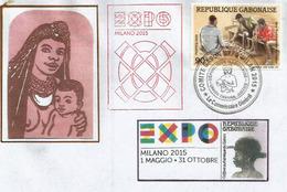 GABON: EXPO UNIVERSELLE MILANO 2015, Lettre Du Pavillon Gabonais, Avec Timbre GABON + Tampons Officiels - 2015 – Milan (Italy)