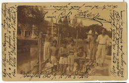 Real Photo Nude Men Near A Klong  P. Used Stamped Bangkok To Firenze 1924 - Tailandia