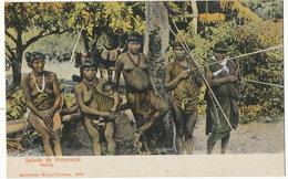 Saludo De Venezuela Indios Nude Native Girls And Men With Bows Archery Donkey - Venezuela