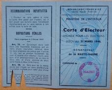 70 - Carte D'électrice Du Département De La Haute-Saône - 8 Septembre 1945 - Documents Historiques