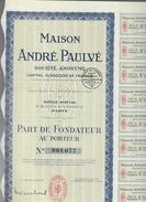 Maison Andre Paulve Paris 03 10 1937 Cod.doc.270 - Azioni & Titoli