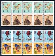 SWEDEN 1978 90 öre And 1.30 Kr Booklet Panes Of 5 Pairs MNH / **.  Michel 1045-46, 1048-49 - Sweden