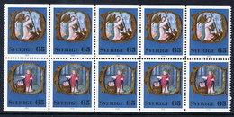 SWEDEN 1976 Christmas 65 öre. Booklet Pane Of 5 Pairs  MNH / **.  Michel 966-67 - Sweden