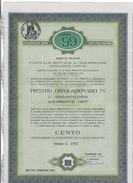 MILANO 1957 SAROM 99  100 OBBLIGAZIONI DA LIRE 1000 CADAUNA CON 26 CEDOLE ANNULLAMENTO A FORI ANNULLATO DOC.275 - Azioni & Titoli