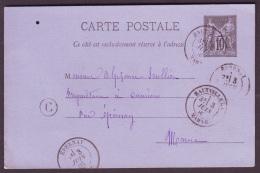 """MARNE - LAC - Tàd T18 HAUTVILLERS Sur Entier N° 89 + BR """"C"""" (Nanteuil Lafosse, Identifiée) Pour Cumières (49) - Postmark Collection (Covers)"""