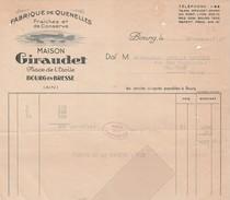 Facture GIRAUDET / 01 BOURG En Bresse Ain / Fabrique De Quenelles / Brochet - France