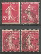France - F1/289 - Type Semeuse Camée - N°278B   3ex. Obl. Et 1(*) - 1906-38 Sower - Cameo