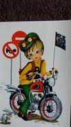 CPSM DESSIN JEUNE HOMME  A LA MOTO SENS INTERDIT PETITS LAPINS DESSIN SYVIA - Children's Drawings