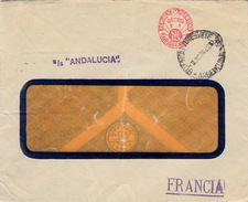 """ARGENTINE - EMA 15Cts - S/S""""ANDALUCIA""""-  1936 BUENOS AIRES POUR LYON - Argentinien"""