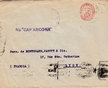 """ARGENTINE - EMA 15Cts - S/S""""CAP ARCONA""""-  1937 BUENOS AIRES POUR LYON - Argentine"""