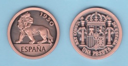SPAIN / King Alfonso XIII 1 PESETA  1.930 Tipo 3-LEON Cobre  Copy Réplica SC/UNC  T-DL-12.031 - [1] …-1931: Königreich