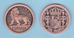 SPAIN / King Alfonso XIII 1 PESETA  1.930 Tipo 3-LEON Cobre  Copy Réplica SC/UNC  T-DL-12.031 - [ 1] …-1931 : Royaume