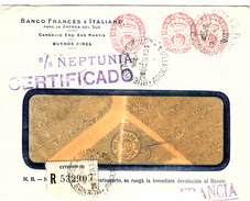 "ARGENTINE - EMA 15Cts - S/S""NEPTUNA"" CERTIFICADO -  25 DIC 36  BUENOS AIRES POUR LYON - BANCO FRANCES E ITALIANO - Argentine"