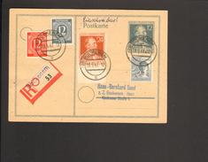 Alli.Bes.12 Pfg. Stephan Einschreiben-Ganzsache Aus Bockenem V.1947 Mit 2 X12Pfg.Ziffer,24 Pfg.Stephan U.12 Pfg.Arbeiter - Gemeinschaftsausgaben