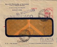 ARGENTINE - EMA 00.52 - S/S ALCANTARA  CERTIFICADO R. - 20 OCT 38   BUENOS AIRES POUR FRANCIA - BANCO FRANCES E ITALIANO - Argentine