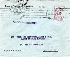 "ARGENTINE - EMA 00.15 - S/S ""CAP ARCONA"" - 26 4 38   BUENOS AIRES POUR LYON - BANCO FRANCES E ITALIANO - Argentine"