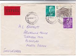 1977 EXPRESS Pedreguer Alicante SPAIN Stamps COVER Express Label - 1931-Hoy: 2ª República - ... Juan Carlos I