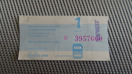 Bus Ticket From Szczecin 1zl Poland - Fahrkarte - Transportation