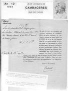 1804 Jean Jacques De Cambaceres Duc De Parme L A S  4l Invitant Le Senateur Villetard A Diner Plus Decret Omme Ministre - Autógrafos